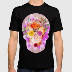 Fruity Psychedelic Skull | Pink Purple Girly Sugar Skull cute Butterfly Flowers Mens Fitted Tee SMALL Black