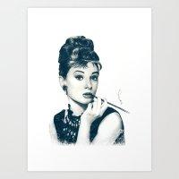hepburn Art Prints featuring My Hepburn by Thubakabra