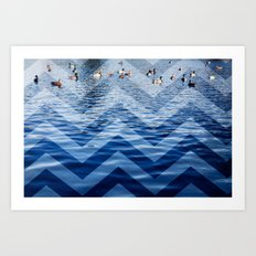 Ducks / Chevron Art Print