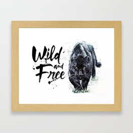 Panther watercolor painting predator animals puma jaguar wild & fre Framed Art Print