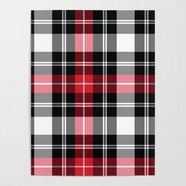 Red, Black, White, Tartan Plaid Pattern Poster
