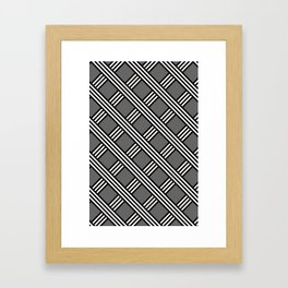 Pantone Pewter, Black & White Diagonal Stripes Lattice Pattern Framed Art Print