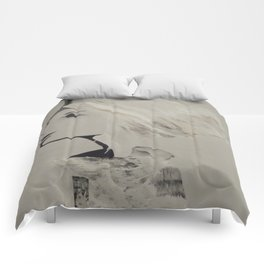 Grey skies, fur coat.  Comforters
