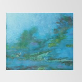 Light Blue Monet´s Theme of Waterlilies Throw Blanket