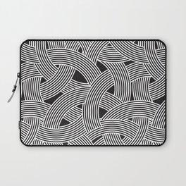 Modern Scandinavian B&W Black and White Curve Graphic Memphis Milan Inspired Laptop Sleeve