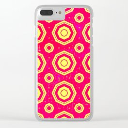Pink Yellow Pattern Clear iPhone Case
