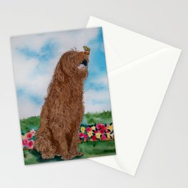 Chocolate Labradoodle and Butterfly Stationery Cards