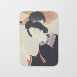 Japanese Art Print - Woman and Parasol Bath Mat