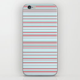 Sky Blue Red Candy Lines iPhone Skin