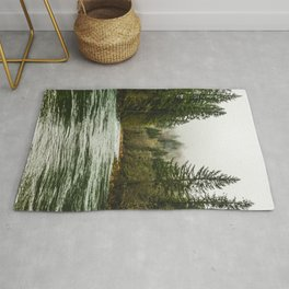 Wanderlust Forest River - Mountain Adventure in Foggy Woods Rug