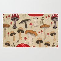 mushrooms Area & Throw Rugs featuring Mushrooms by Lynette Sherrard Illustration and Design