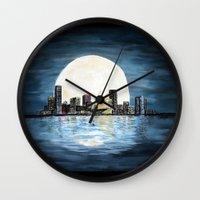 milwaukee Wall Clocks featuring Milwaukee Night by Kristiekoz