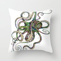 classic Throw Pillows featuring Octopsychedelia by TAOJB