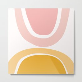 Abstract Shapes 17 in Mustard Yellow and Pale Pink Metal Print