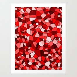 Red Monochrome Mosaic Pattern Art Print