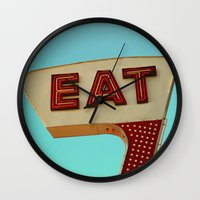 eat Wall Clocks featuring Eat by bomobob