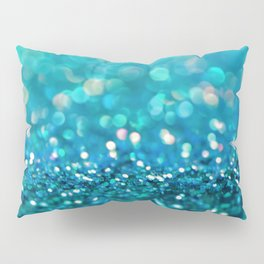 Teal turquoise blue shiny glitter print effect - Sparkle Luxury Backdrop Pillow Sham