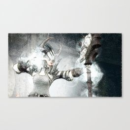 Ice skill by magician girl Canvas Print