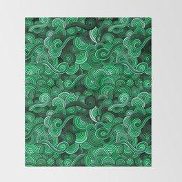Swirly Emerald Green Throw Blanket