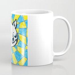 Winking Kitty Blue & Yellow Background Coffee Mug