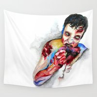 zombie Wall Tapestries featuring Zombie by Camille Ratté
