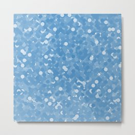 Azure Blue Polka Dot Bubbles Metal Print