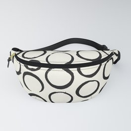 Polka Dots Circles Tribal Black and White Fanny Pack