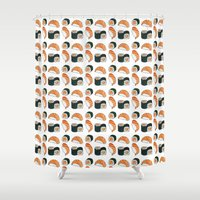 sushi Shower Curtains featuring Sushi by Raccoon Illustrations