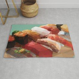 Nigiri Sushi Platter Polygon Art Rug