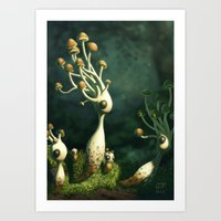 mushrooms Art Prints featuring Mushrooms by Andrew McIntosh