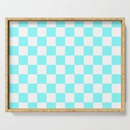 Checkered (Aqua & White Pattern) Serving Tray