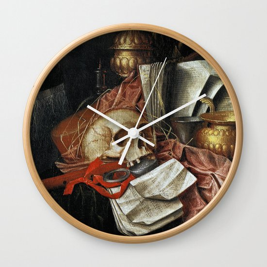 Vintage Vanitas - Still Life with skull 2 Wall Clock