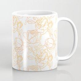 Roses (White Glow) - Gold Coffee Mug
