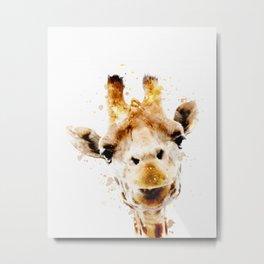 Giraffe watercolor art print safari animals nursery decoration Metal Print