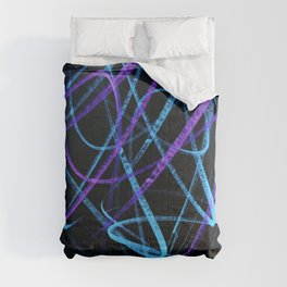 Sky Blue and Bold Violet Wavy Lines Comforters