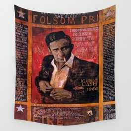 Red Johnny Cash Wall Tapestry