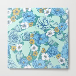 Weapon Floral-Blue Metal Print
