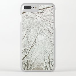 Snowy trees in Montreal Clear iPhone Case