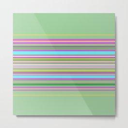 Green Pink Stripes Metal Print