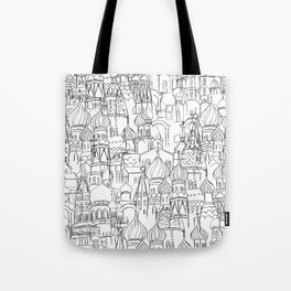 Russian cathedral church line drawing Tote Bag