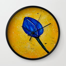 Blue Tulip Acrylic Abstract painting by Saribelle Wall Clock