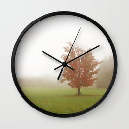 Maple Tree in Fog with Fall Colors Wall Clock