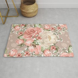 Peach Blush Vintage Watercolor Floral Pattern Rug