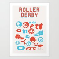 roller derby Art Prints featuring Roller Derby by RhiannonHeeley