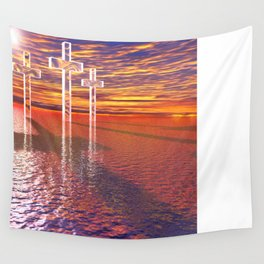 Christian crosses on red sea Wall Tapestry