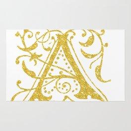 Gold Foil Letter A Rug