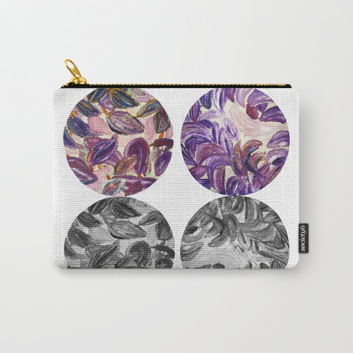 DRIP DRIP DRIP Purple Leaves Shadow Black and White Carry-All Pouch