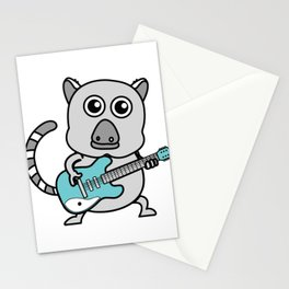 Unique & Funny Ringtail Cat Tshirt Design Guitar Stationery Cards
