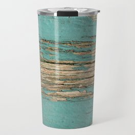 Rustic Wood Ages Gracefully - Beautiful Weathered Wooden Plank - knotty wood weathered turquoise pai Travel Mug