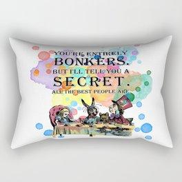 Watercolor Tea Party - Bonkers Quote - Alice In Wonderland Rectangular Pillow
